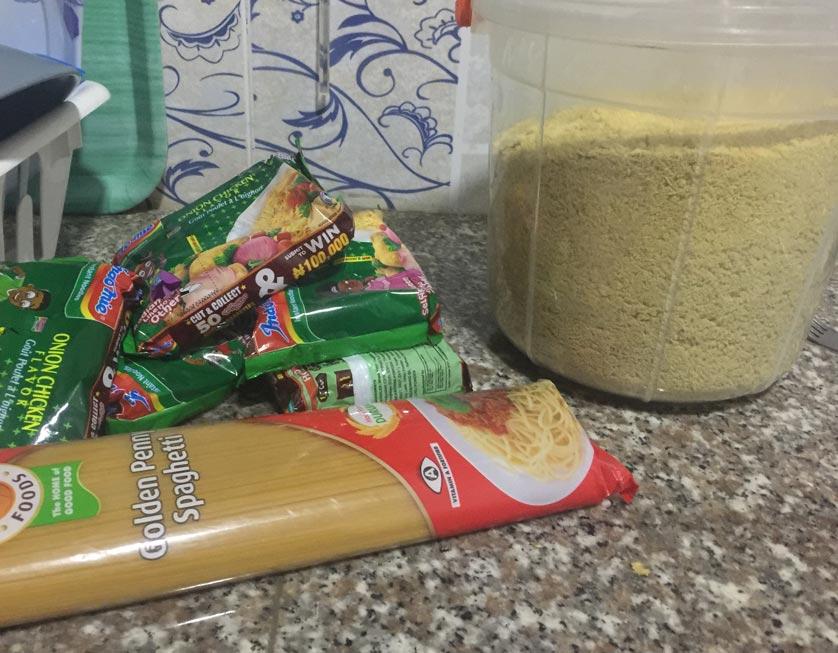 Indomie, Garri, Spaghetti