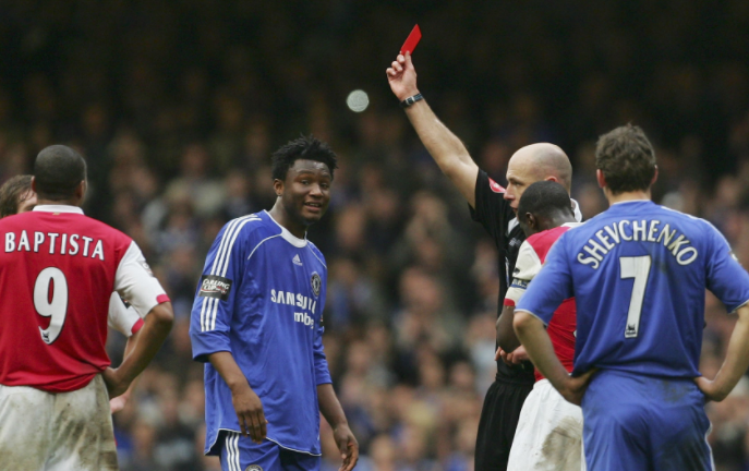 Mikel first Red card