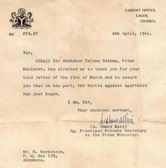 Letter Tafawa Balewa sent to South Africa