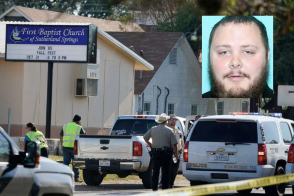 Texas Church Shooting. Inset: Devin Patrick Kelley