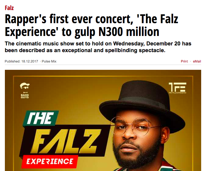Falz Experience cost N300 million