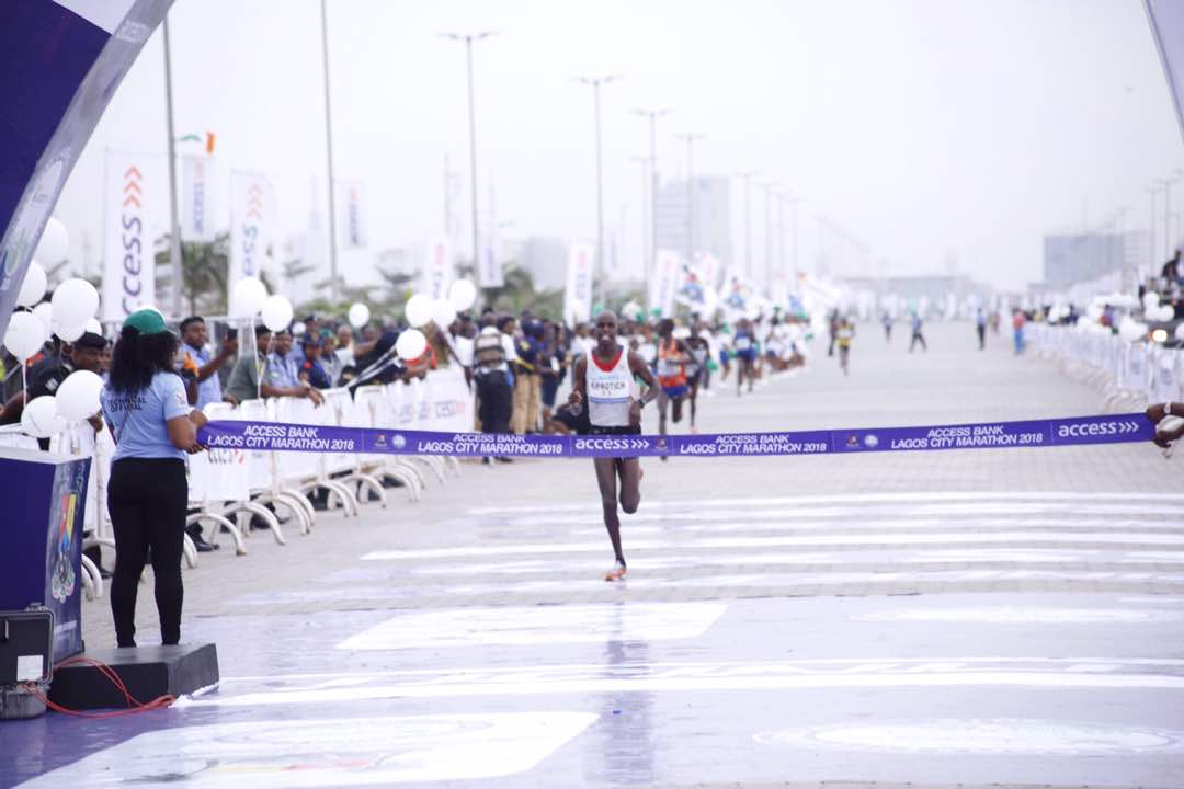 Lagos Marathon - Abraham Kiprotich approaching the finish line