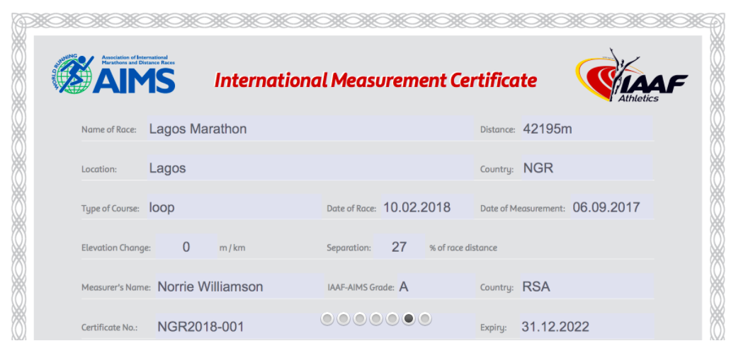 International measurement certificate - Lagos Marathon
