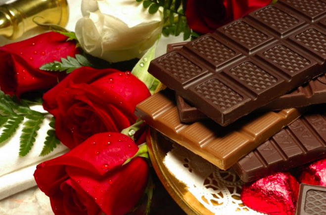 Roses and chocolates. valentine's day gifts