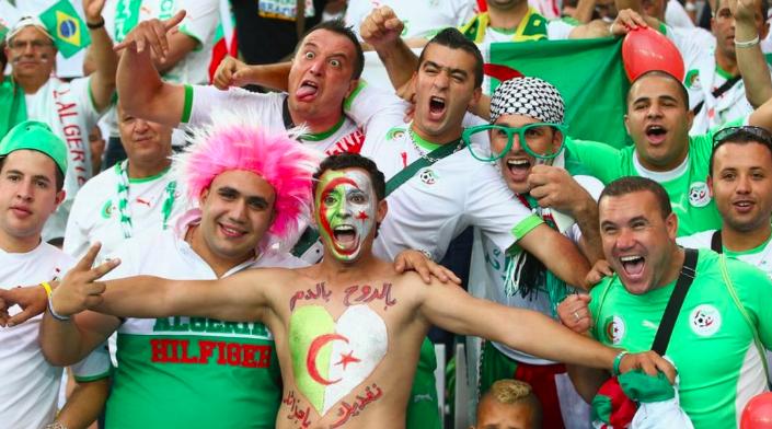 Happy football fans from Algeria