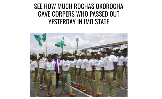 See how much Rochas Okorocha gave corpers who passed out ...