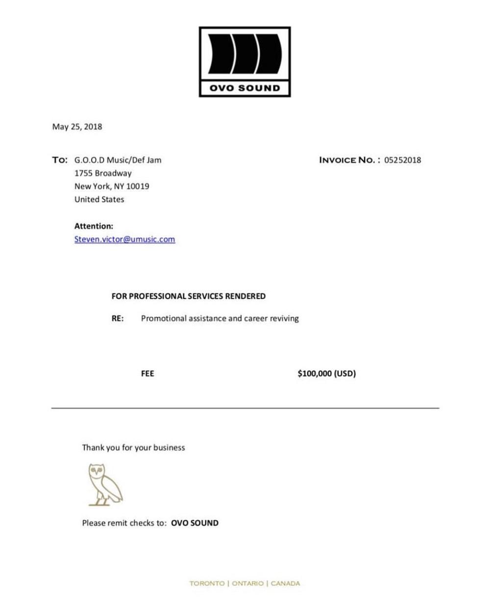 drake letter invoice to Pusha T