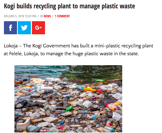 Kogi State, Plastic recycling plant